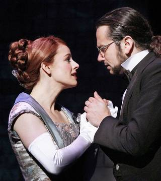 "Teal Wicks and Constantine Maroulis star as Emma Carew and Henry Jekyll in the national touring production of ""Jekyll & Hyde."""