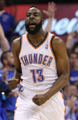 Oklahoma City's James Harden (13) reacts after making a shot during game two of the Western Conference semifinals between the Memphis Grizzlies and the Oklahoma City Thunder in the NBA basketball playoffs at Oklahoma City Arena in Oklahoma City, Tuesday, May 3, 2011. Photo by Chris Landsberger, The Oklahoman