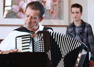 """Dick Albreski plays during an """"Accordion Affair,"""" sponsored by the Oklahoma Accordion Club at the Santa Fe Depot in Norman. PHOTO BY LYNETTE LOBBAN, FOR THE OKLAHOMAN"""