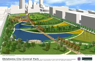 A part of the MAPS 3 Core to Shore park is shown in an artist's drawing. Oklahoma City has received a federal grant to pay for environmental studies on the site of the park. Image Provided