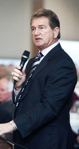 Joe Theismann, former NFL star, speaks at the Bill Glass Breakfast of Champions event at the Petroleum Club in downtown Oklahoma City, OK, Friday, March 15, 2013, By Paul Hellstern, The Oklahoman
