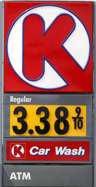 Regular gasoline is priced at $3.38 a gallon Tuesday at Circle K at Britton Road and May Avenue in Oklahoma City. Photo By Steve Gooch, The Oklahoman