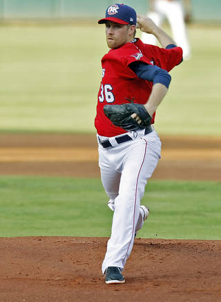 Oklahoma City Redhawks pitcher Collin Mchugh (36) pitches the ball during a minor league baseball game between the Oklahoma City Redhawks and the Round Rock Express at the Chickasaw Bricktown Ballpark on July 22, 2014. Photo by KT King, The Oklahoman