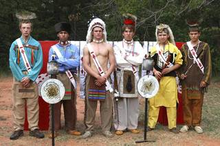 Zach Childers, Fred Traylor , Eagle Chapter Chief Jonah Moore, Mitch Pace, Ethan Lang, from Duncan,and Seth Truitt appear in Order of the Arrow regalia at Fall Ordeal at Slippery Falls. Those pictured are from the Eagle Chapter of the Order of the Arrow, except for Lang, of Duncan. PHOTO PROVIDED BY MARK DOIRON Mark Doiron - Provided