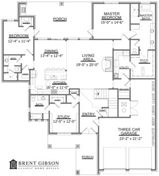 This plan by Brent Gibson shows a home's first floor, with a master suite and a second suite with full bath. Gibson says homes with two full masters are growing in popularity in Oklahoma City. PROVIDED BY BRENT GIBSON CLASSIC HOME DESIGN Brent Gibson