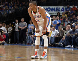 Oklahoma City's Russell Westbrook (0) reacts after being called for technical during the NBA basketball game between the Oklahoma City Thunder and the Houston Rockets at the Chesapeake Energy Arena, Tuesday, March 13, 2012. Photo by Sarah Phipps, The Oklahoman.
