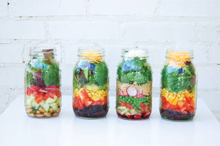 Mason jars provide an innovative way to transport pre-prepared lunches or snacks. PHOTO PROVIDED - Provided