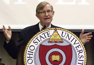FILE - In this July 12, 2007, file photo, Gordon Gee speaks after being named Ohio State University's 14th president during a news conference in Columbus, Ohio. Gee is retiring as of July 1 following the revelation of recorded remarks in which he criticized Notre Dame, Roman Catholics and the Southeastern Conference, the university announced Tuesday, June 4, 2013. (AP Photo/Jay LaPrete, File) ORG XMIT: NY170
