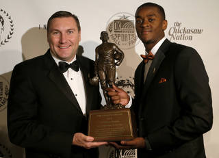 Mississippi State coach Dan Mullen poses with Jim Thorpe Award winner Johnthan Banks of Mississippi State at the Jim Thorpe Museum and Oklahoma Sports Hall of Fame in Oklahoma City, Tuesday, Feb. 5, 2013. Photo by Bryan Terry, The Oklahoman