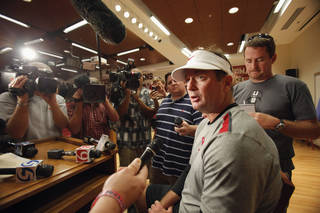 COLLEGE FOOTBALL: Head coach Bob Stoops speaks with the media following the University of Oklahoma (OU) Sooners first day of practice on Thursday, August 4, 2011, in Norman, Okla. Photo by Steve Sisney, The Oklahoman ORG XMIT: KOD