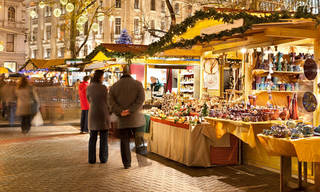 Christmas market in Budapest: under a new law photographers would have had to ask permission to take these shoppers' picture. Photograph: Robert Harding World Imagery/Alamy
