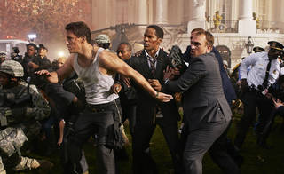 """Channing Tatum, left, and Jamie Foxx, center, in a scene from """"White House Down,"""" directed by Roland Emmerich. SONY PICTURES ENTERTAINMENT Reiner Bajo"""