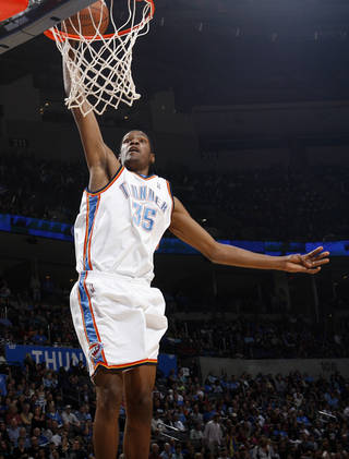 Thunder forward Kevin Durant is a key part of Oklahoma City's core group of players. (Photo by Nate Billings, The Oklahoman)