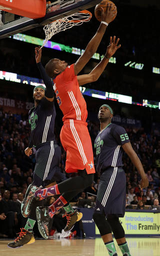 West Team's Kevin Durant, of the Oklahoma City Thunder (35) goes to the hoop against Team east during the NBA All Star basketball game, Sunday, Feb. 16, 2014, in New Orleans. (AP Photo/Gerald Herbert)
