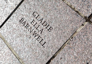 The paver of Gladie Barnwell, 99, of Oklahoma City, is shown at the state Capitol. Photo by K.T. King, The Oklahoman KT King -