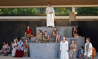 """Aaron Kellert, top, performs during Upstage Theatre's production of """"Children of Eden"""" at J.L. Mitch Park in Edmond. PHOTO BY SARAH PHIPPS, THE OKLAHOMAN SARAH PHIPPS -"""