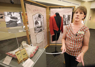 "Andi Holland, director of the Cherokee Strip Regional Heritage Center in Enid is shown at the exhibit ""Step Right Up! Behind the Scenes of the Circus Big Top, 1890-1965."" David McDaniel - The Oklahoman"