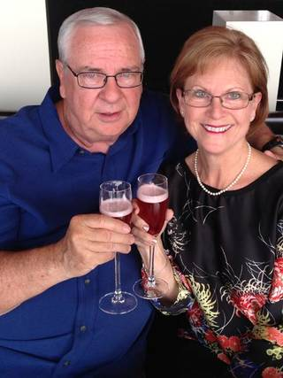 Celebrating our wedding anniversary with champagne. Photo by Marcy Williams