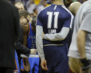 Oklahoma City coach Scott Brooks huddles with the team during a timeout late in overtime of Game 3 in the first round of the NBA playoffs between the Oklahoma City Thunder and the Memphis Grizzlies at FedExForum in Memphis, Tenn., Thursday, April 24, 2014. Memphis won 98-95. Photo by Bryan Terry, The Oklahoman