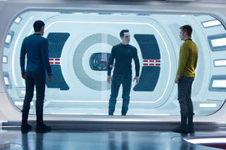 """Zachary Quinto as Spock, Benedict Cumberbatch as John Harrison and Chris Pine as James T. Kirk in """"Star Trek: Into Darkness."""" Paramount."""