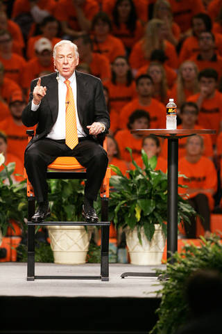 T. Boone Pickens speaks Thursday during his town hall meeting at Oklahoma State University in Gallagher-Iba Arena in Stillwater. Photo by Steve Gooch, The Oklahoman