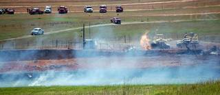 Three people were injured this morning, one critically, in a natural gas pipeline explosion near Pocasset. One man, said to be in critical condition, was taken by air to Baptist Burn Center in Oklahoma City and two others were taken by ambulance to the burn center. The explosion occurred five miles west of Poccaset on C.R. 1260. Photo by Jerry Pittman