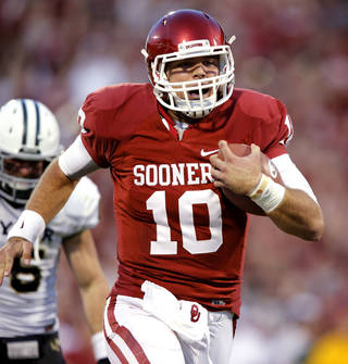 Blake Bell is now the only quarterback on the Sooners' roster that has seen playing time in a college football game. But that doesn't mean he's a shoe-in for the starter's job. PHOTO BY STEVE SISNEY, The Oklahoman