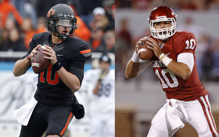 Their coaches won't say it, but Clinf Chelf, left, and Blake Bell are their respective schools' likely starting quarterbacks. PHOTOS FROM THE OKLAHOMAN ARCHIVES