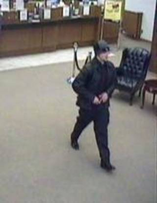 Surveillance photo of a suspect who attempted to rob a bank Thursday morning in Midwest City. Photo provided - Photo provided by the FBI