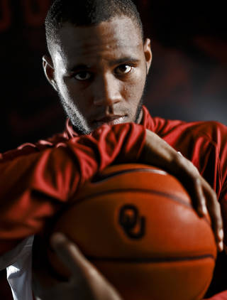 Amath M'Baye poses for a photo during the OU men's basketball media day on Monday, Oct. 29, 2012, in Norman, Okla. Photo by Chris Landsberger, The Oklahoman