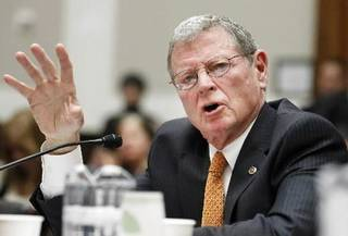 """Sen. James Inhofe, R-Okla., testifies on Capitol Hill in Washington, Wednesday, Feb. 9, 2011, before the House subcommittee on Energy and Power hearing on the """"Energy Tax Prevention Act of 2011. (AP Photo/Manuel Balce Ceneta)"""