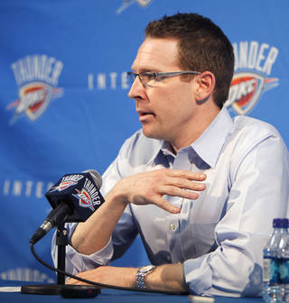 Thunder general manager Sam Presti speaks to reporters at a season-ending press conference Monday. PHOTO BY PAUL HELLSTERN, THE OKLAHOMAN