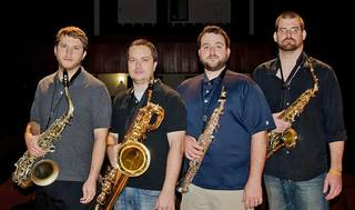 From left, Michael Culbertson, Michael Christensen, Bill Funke and Eric Daniels make up Quartet 35. The group, comprised of Oklahoma and Texas natives, is performing this week at the World Saxophone Congress in Scotland. Photo provided by Bill Funke.