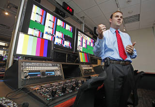 Brandon Meier, Assistant Athletic Director for Video Production, gives a tour of the University of Oklahoma's (OU) SoonerVision high definition studio and production facility on Tuesday, August 30, 2011, in Norman, Okla. Photo by Steve Sisney, The Oklahoman ORG XMIT: KOD