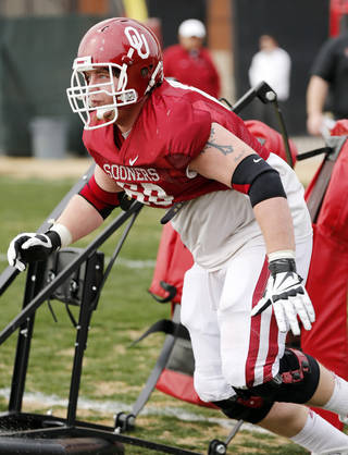 COLLEGE FOOTBALL: Offensive lineman Bronson Irwin participates in Sooner spring football drills at University of Oklahoma (OU) on Tuesday, March 12, 2013 in Norman, Okla. Photo by Steve Sisney, The Oklahoman