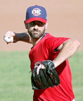 Mark Prior pitches for the RedHawks on Sunday. Photo by John Clanton, The Oklahoman