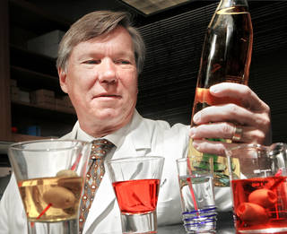 Dr. Stephen Prescott says methanol is one of many compounds in alcoholic drinks that can contribute to hangovers. PHOTO BY JIM BECKEL, THE OKLAHOMAN