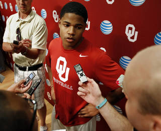 Wide Receiver Sterling Shepard speaks with reporters during the University of Oklahoma (OU) football team's media day in the Adrian Peterson Team Meeting Room on Saturday, Aug. 2, 2014 in Norman, Okla. Photo by Steve Sisney, The Oklahoman