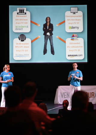 Shannon Meairs and Justin Jeter with SPARXlife pitch their business during VentureSpur pitch day at Will Rogers Theatre, Wednesday, October 23, 2013. Photo by David McDaniel, The Oklahoman
