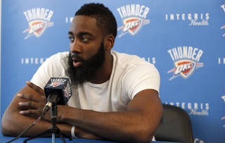 Oklahoma City's James Harden (13) speaks during a press conference at the Integris Health Thunder Development Center in Oklahoma City, Saturday, June 23, 2012. Photo by Sarah Phipps, The Oklahoman