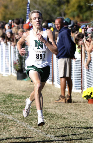 Norman North's Ben Barrett nears the finish line to win the 6A Boys race during the Classes 6A, 5A & 4A State Cross country meet at Edmond Santa Fe High School in Edmond, OK, Saturday, November 2, 2013, Photo by Paul Hellstern, The Oklahoman