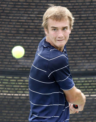 CLASS 6A HIGH SCHOOL TENNIS / STATE TOURNAMENT: Edmond North's Nate Roper competes against Jenks' Chase Gordon during the 6A boys Oklahoma High School Tennis Tournament at the Oklahoma City Tennis Center in Oklahoma City, OK, Monday, May 14, 2012, By Paul Hellstern, The Oklahoman