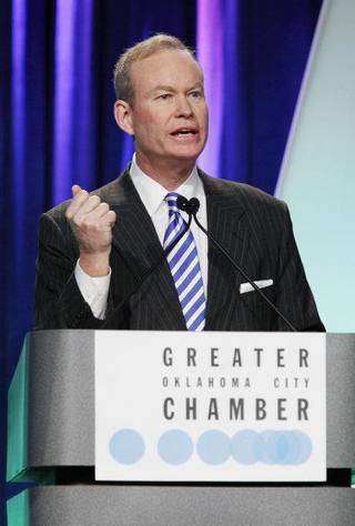 Oklahoma City Mayor Mick Cornett gives his 6th State of the City address at the Cox Convention Center Wed. Jan. 13, 2010 in OKC. Photo by Jaconna Aguirre, The Oklahoman. ORG XMIT: KOD