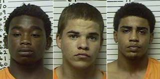 James Francis Edwards Jr., Chancey Allen Luna and Michael Dewayne Jones, left to right, are charged in connection with the drive-by shooting of Christopher Lane. (File photos)