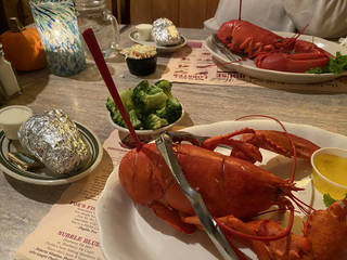 The lobster dinner at Fox's Lobster House. (Photo by Tricia Tramel)