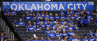A view of the stands late in the fourth quarter after many fans had left during Game 1 in the first round of the NBA playoffs between the Oklahoma City Thunder and the Houston Rockets at Chesapeake Energy Arena in Oklahoma City, Sunday, April 21, 2013. Oklahoma City won, 120-91. Photo by Nate Billings, The Oklahoman