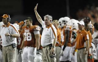 Texas coach Mack Brown during the third quarter of an NCAA college football game against Rice, Saturday, Sept. 3, 2011, in Austin, Texas. (AP Photo/Eric Gay) Eric Gay - ASSOCIATED PRESS