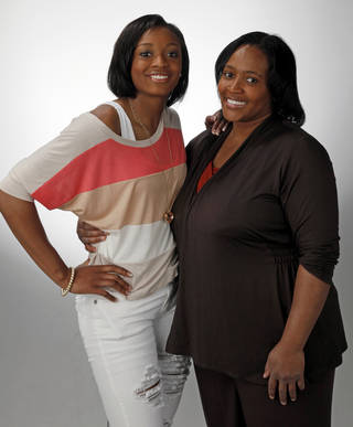 Super 5 and Big All-City girls high school basketball player of the year Courtney Walker of Edmond Santa Fe and her mother Tonda Walker photographed at the OPUBCO studio in Oklahoma City, Wednesday, March 28, 2012. Photo by Nate Billings, The Oklahoman