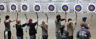 Students line up to shoot in last year's Archery in the Schools state tournament. Photo By David McDaniel, The Oklahoman Archives - By David McDaniel, The Oklahoman