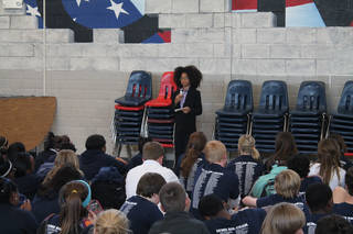 Joshua Wright, 12, head of Joshua's Heart in Miami, Fla., speaks to a crowd of students at Independence Charter Middle School in Oklahoma City during his recent visit hosted by Feed the Children. PHOTO PROVIDED.